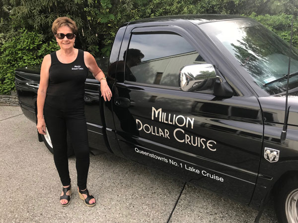Betty Perkins, owner of Queenstown Lake Cruise with her vehicle